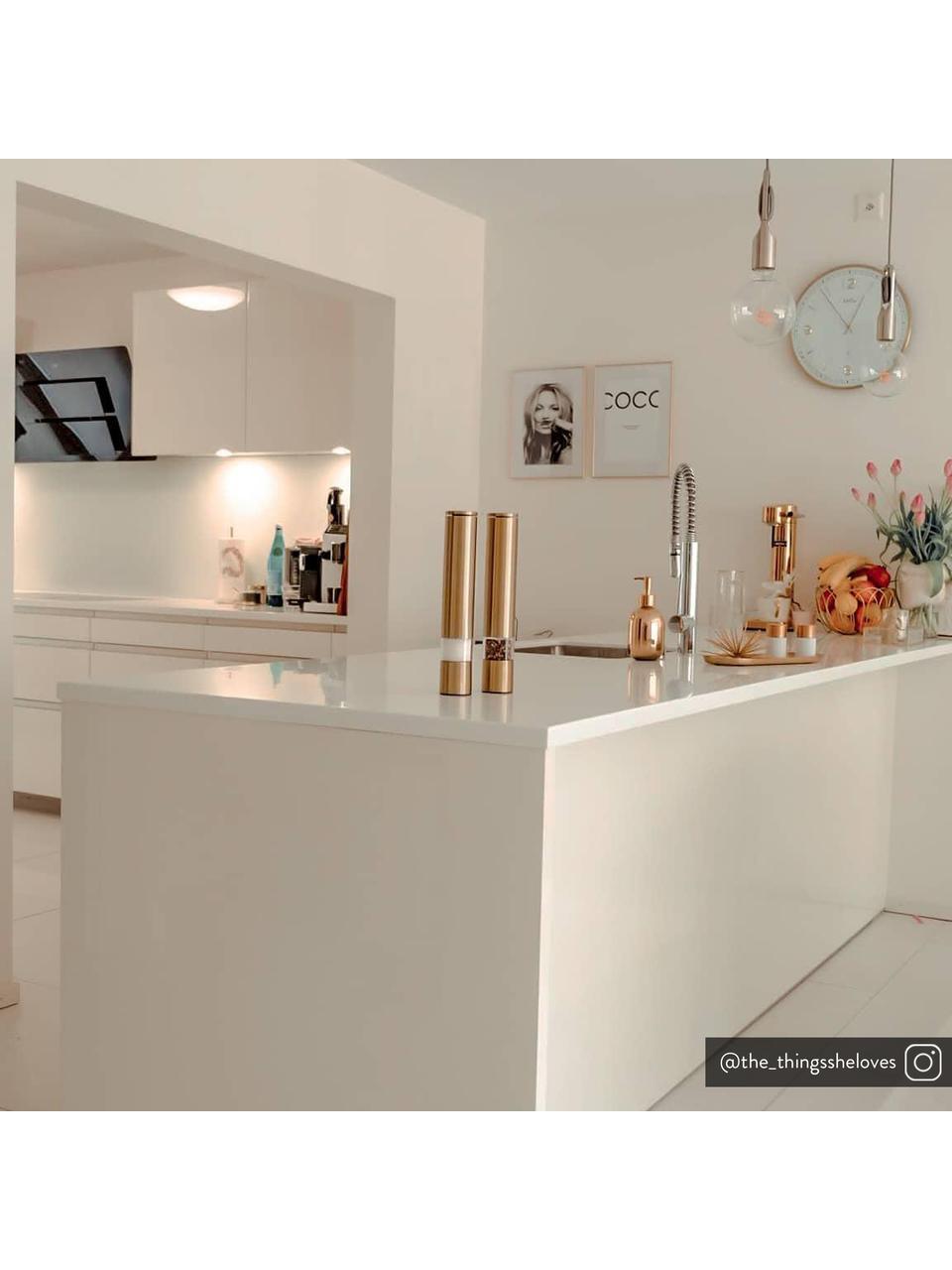 Gewürzmühle Sheda, Korpus: Acrylglas, Edelstahl, bes, Mahlwerk: Keramik, Kunststoff, Messingfarben, Ø 5 x H 29 cm