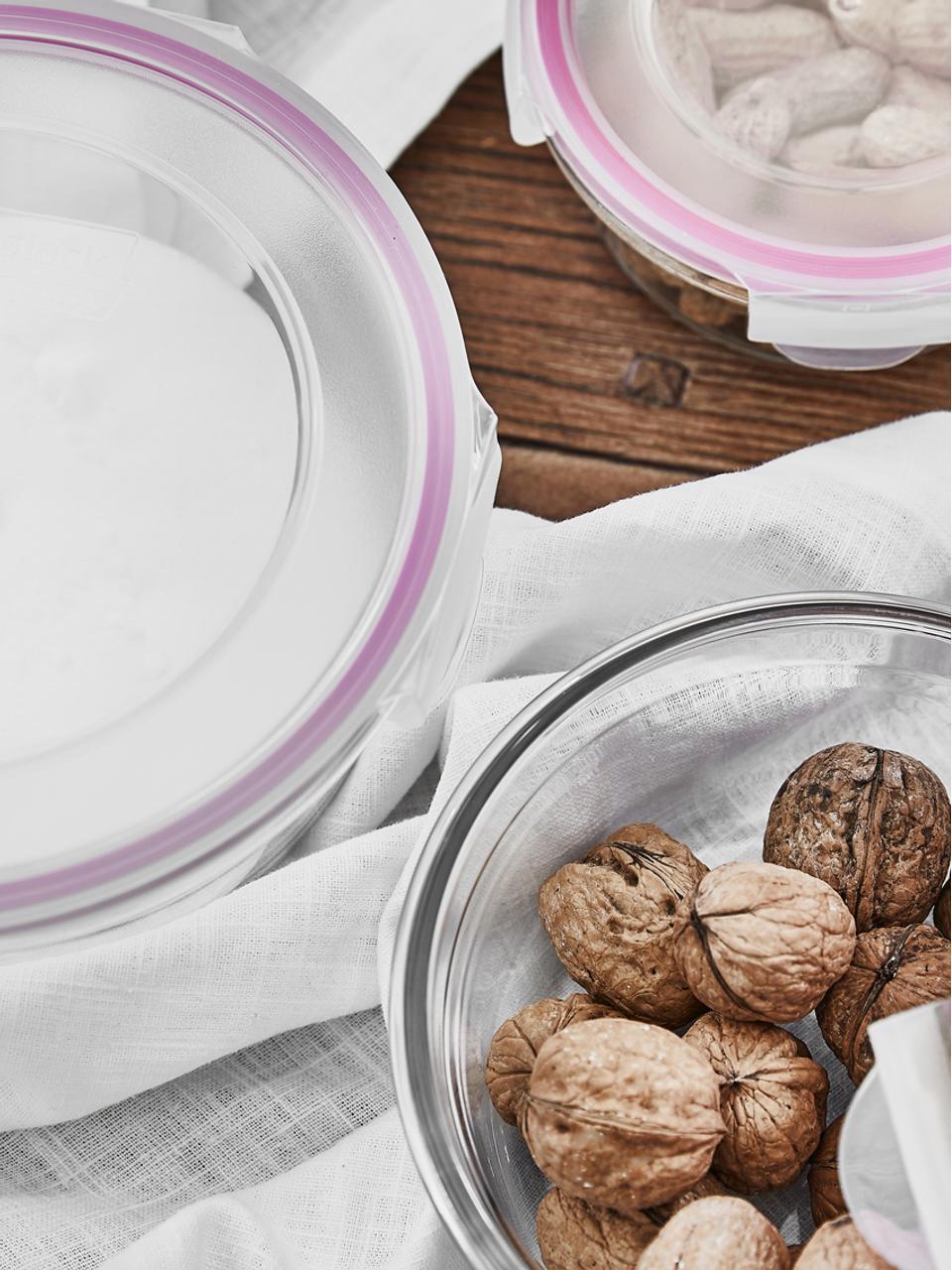 Komplet pojemników do przechowywania żywności Lilo, 2elem., Transparentny, różowy, Komplet z różnymi rozmiarami