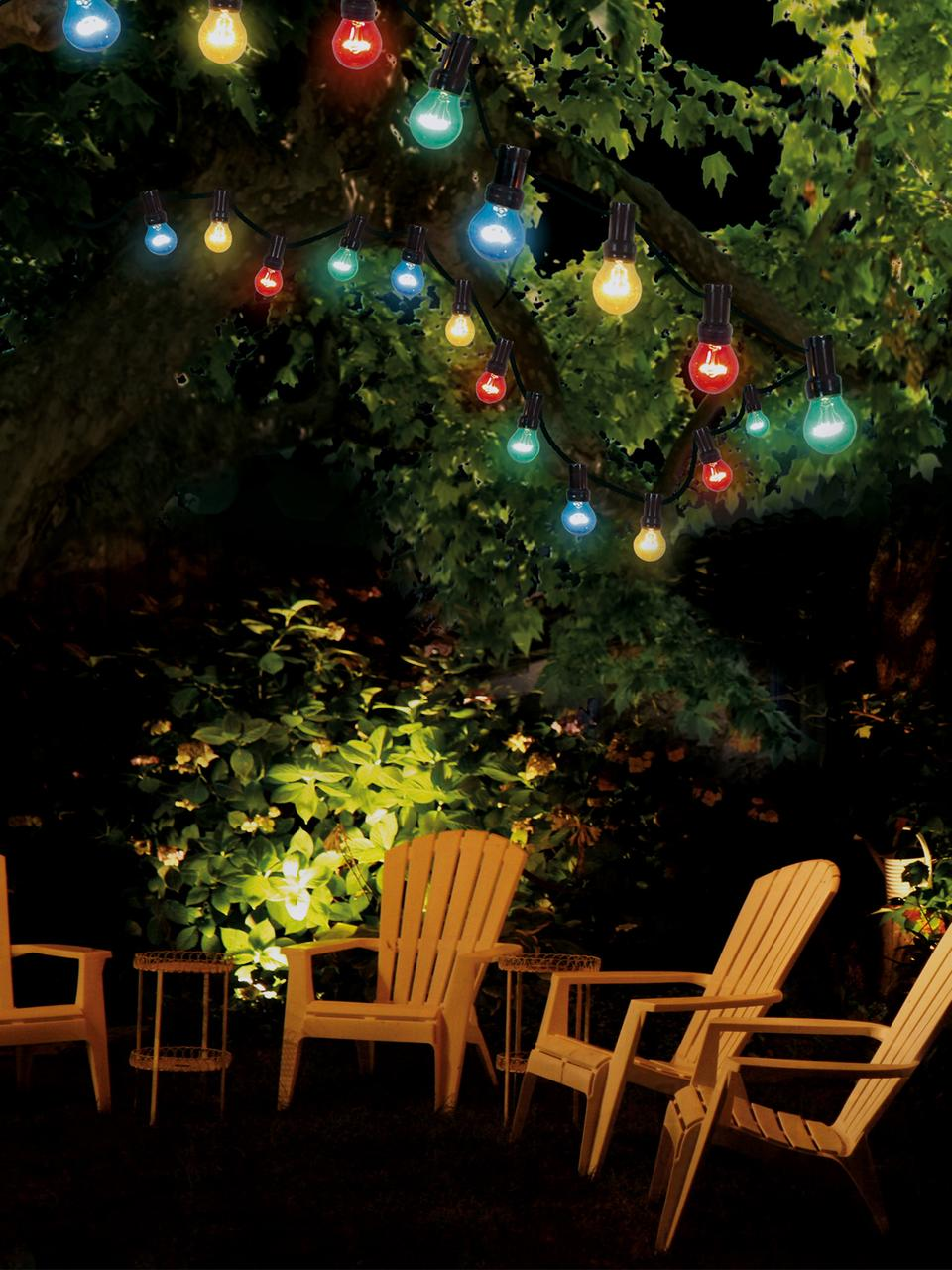 Girlanda świetlna Jubile, 620 cm i 10 lampionów, Czerwony, niebieski, zielony, żółty, D 620 cm