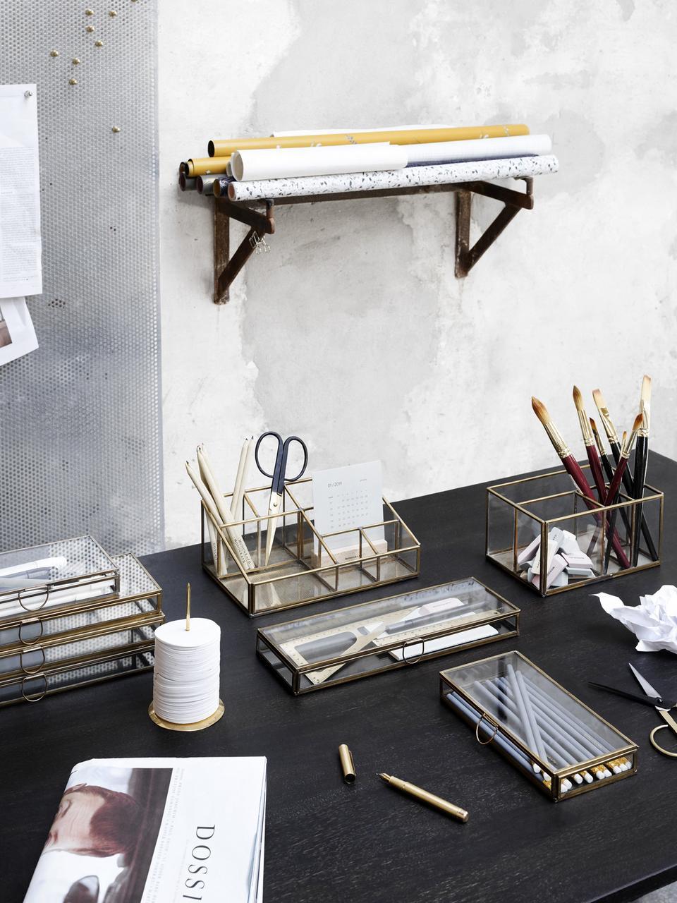 Organizer Sorted, Cornice: metallo ottonato, Trasparente, ottone, Larg. 21 x Alt. 13 cm