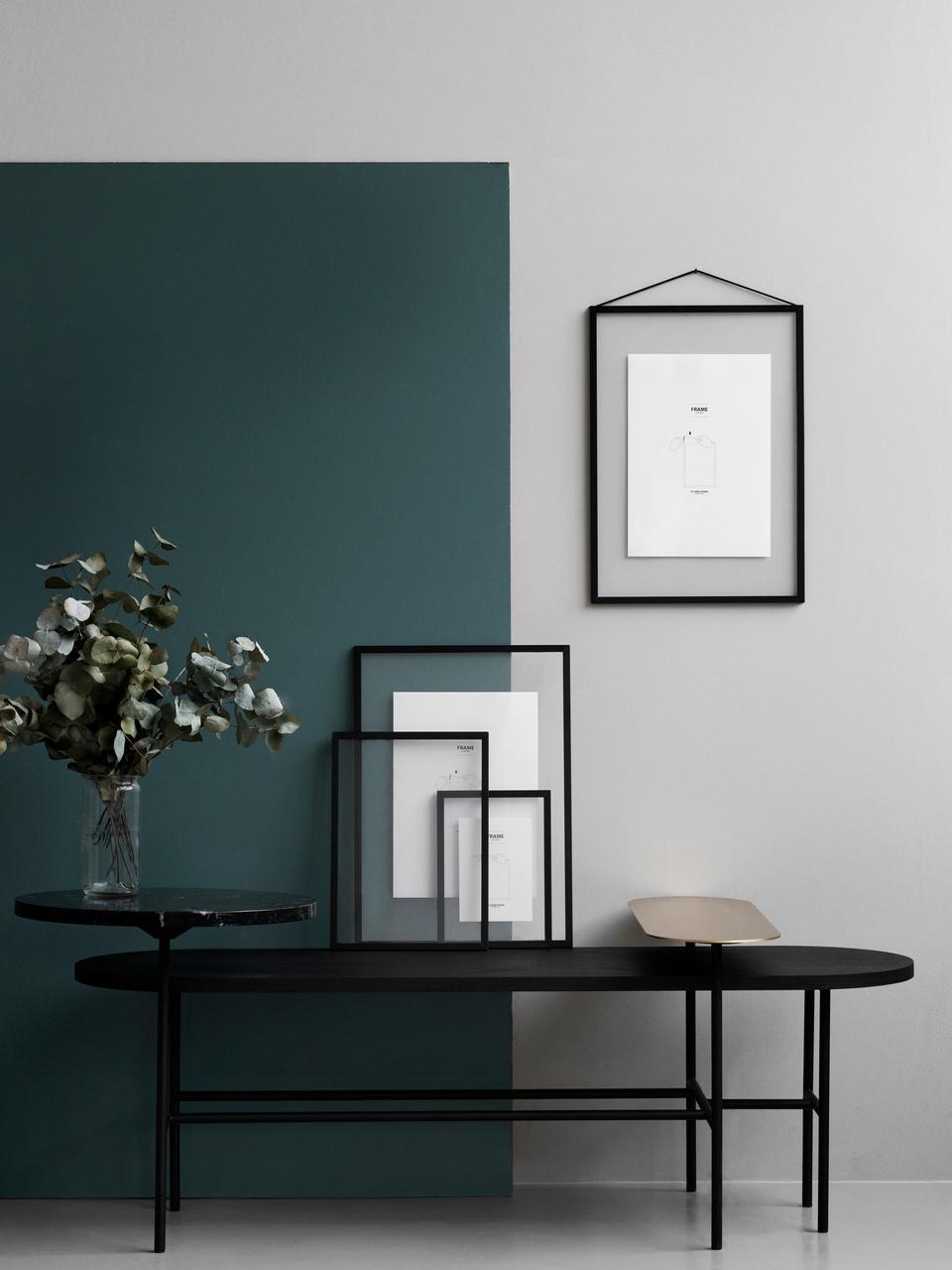Ramka na zdjęcia Frame, Stelaż: aluminium malowane proszk, Stelaż: czarny Zawieszka: czarny Front i tył: transparentny, S 17 x W 23 cm