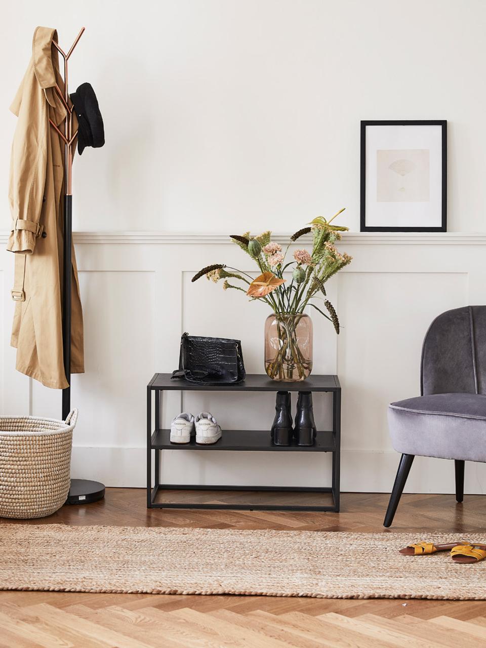 Metalen schoenenrek Newton met 2 planken, Gepoedercoat metaal, Zwart, 70 x 45 cm