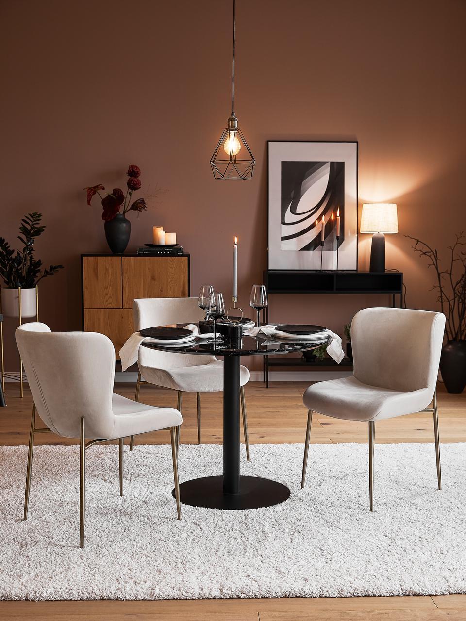 Sedia imbottita in velluto beige Tess, Rivestimento: velluto (poliestere) Con , Gambe: metallo rivestito, Velluto beige, gambe oro, Larg. 48 x Alt. 64 cm
