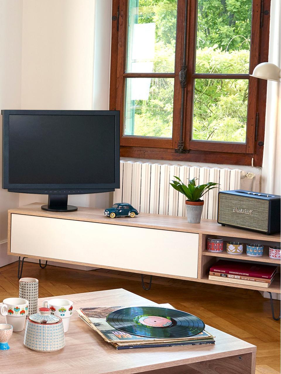Tv-meubel Aero met klapdeur, Frame: melamine gecoate spaanpla, Poten: gelakt metaal, Eikenhoutkleurig, wit, 165 x 44 cm
