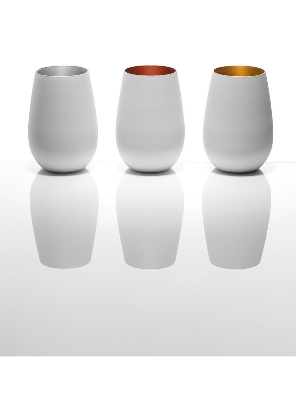 Kryształowa szklanka do koktajli Elements, 6 szt., Szkło kryształowe, powlekane, Biały, odcienie brązowego, Ø 9 x W 12 cm