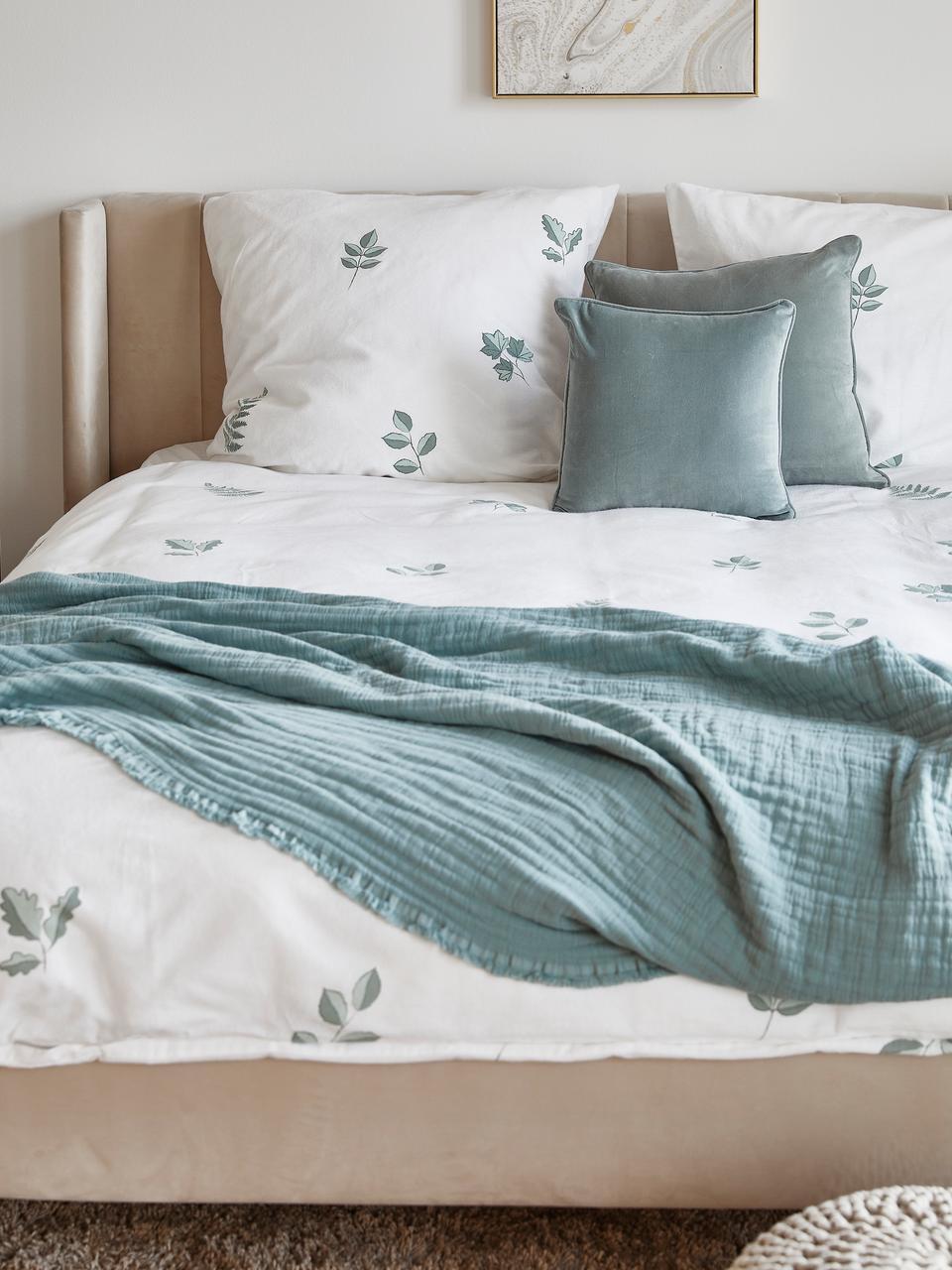 Flanell-Bettwäsche Fraser mit winterlichem Blattmuster, Webart: Flanell Flanell ist ein k, Salbeigrün, Weiss, 155 x 220 cm + 1 Kissen 80 x 80 cm