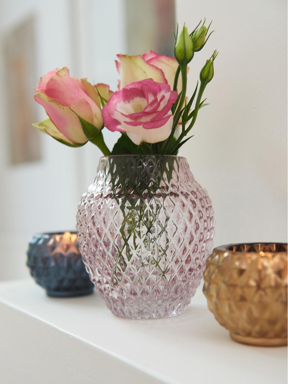 Handgefertigte Glasvase Poesia, Glas, Rosa, Ø 19 x H 23 cm
