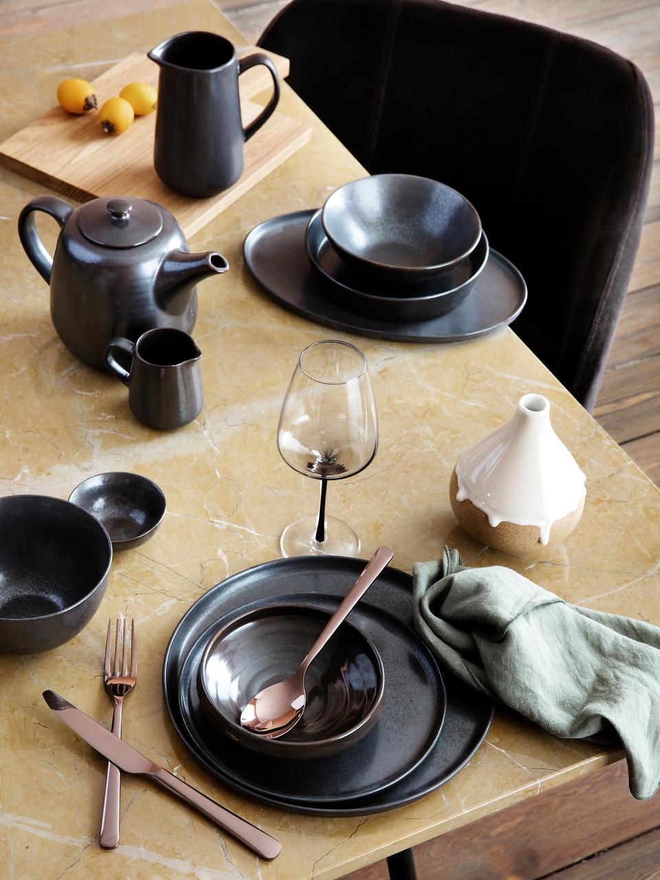 Piatto piano fatto a mano Esrum Night 4 pz, Terracotta smaltata, Marrone grigiastro lucido argenteo opaco, Ø 28 cm