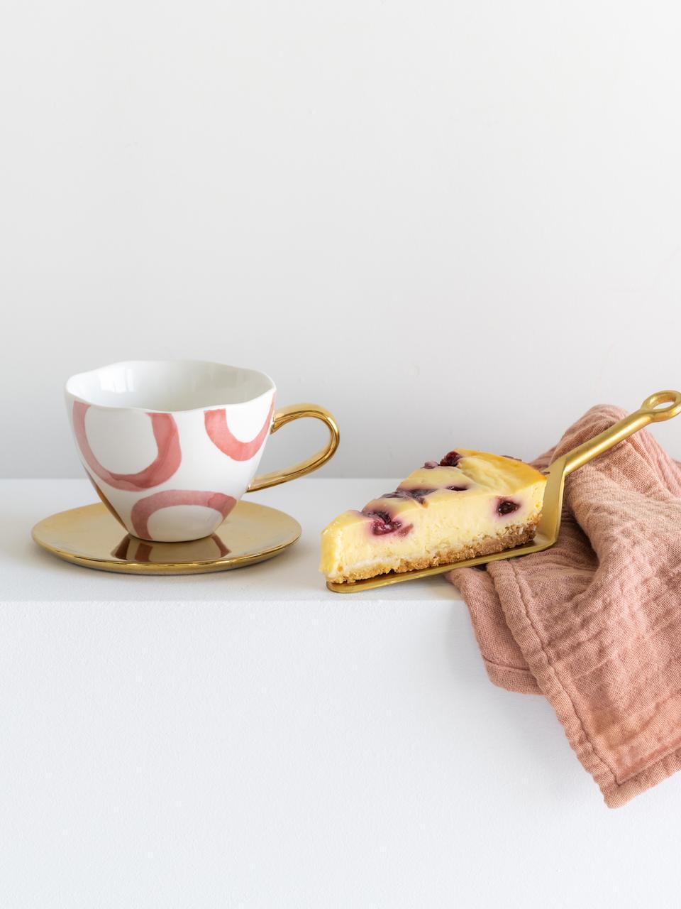 Bemalte Tasse Good Morning mit goldenem Griff, New Bone China, Weiss, Rosa, Goldfarben, Ø 11 x H 8 cm