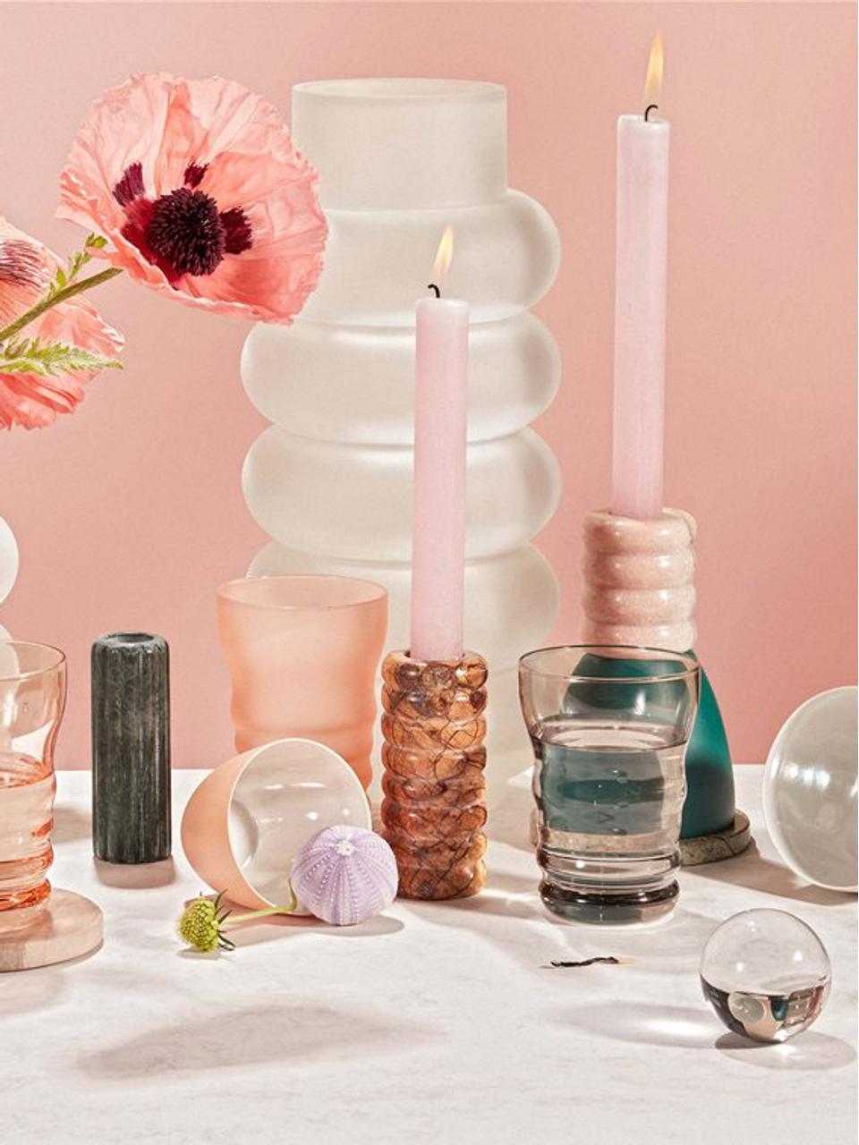 Wassergläser Bubble milchig/glänzend, 4er-Set, Milch- und glänzendes Glas, Rosa, Transparent, Ø 8 x H 11 cm