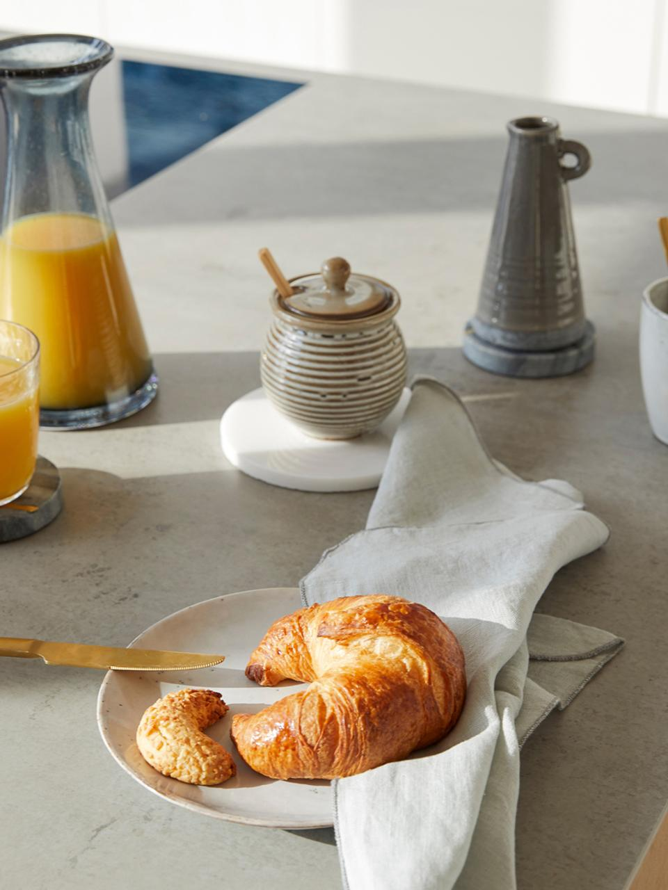 Zuccheriera con cucchiaio Stag, Contenitore: terracotta, Cucchiaio: bambù, Grigio, marrone, Ø 10 x Alt. 12 cm
