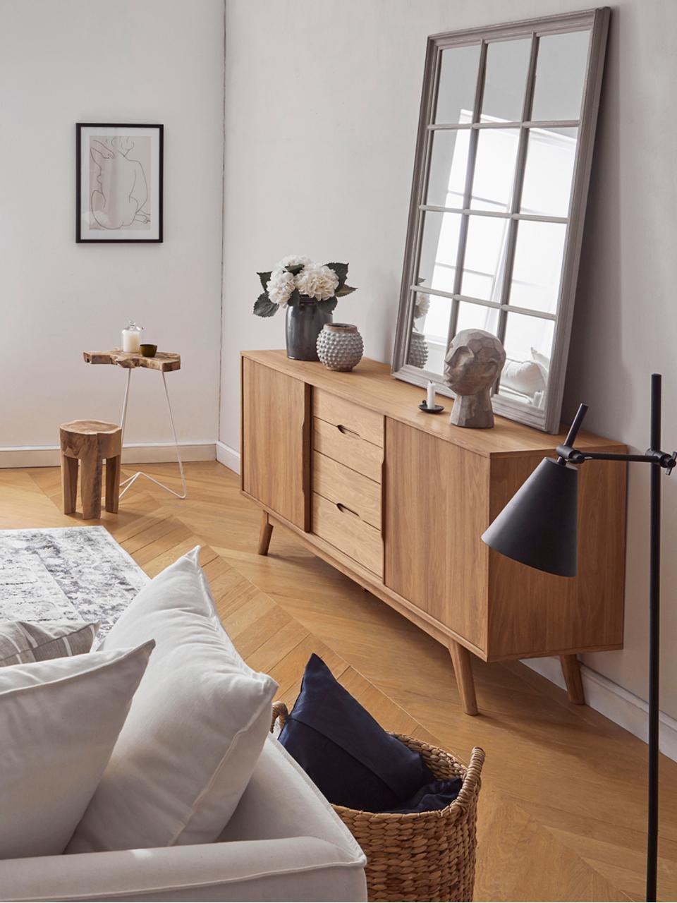 Dressoir Bettina met eikenhoutfineer, Frame: MDF met geolied eikenhout, Poten: massief en geolied eikenh, Bruin, 180 x 84 cm