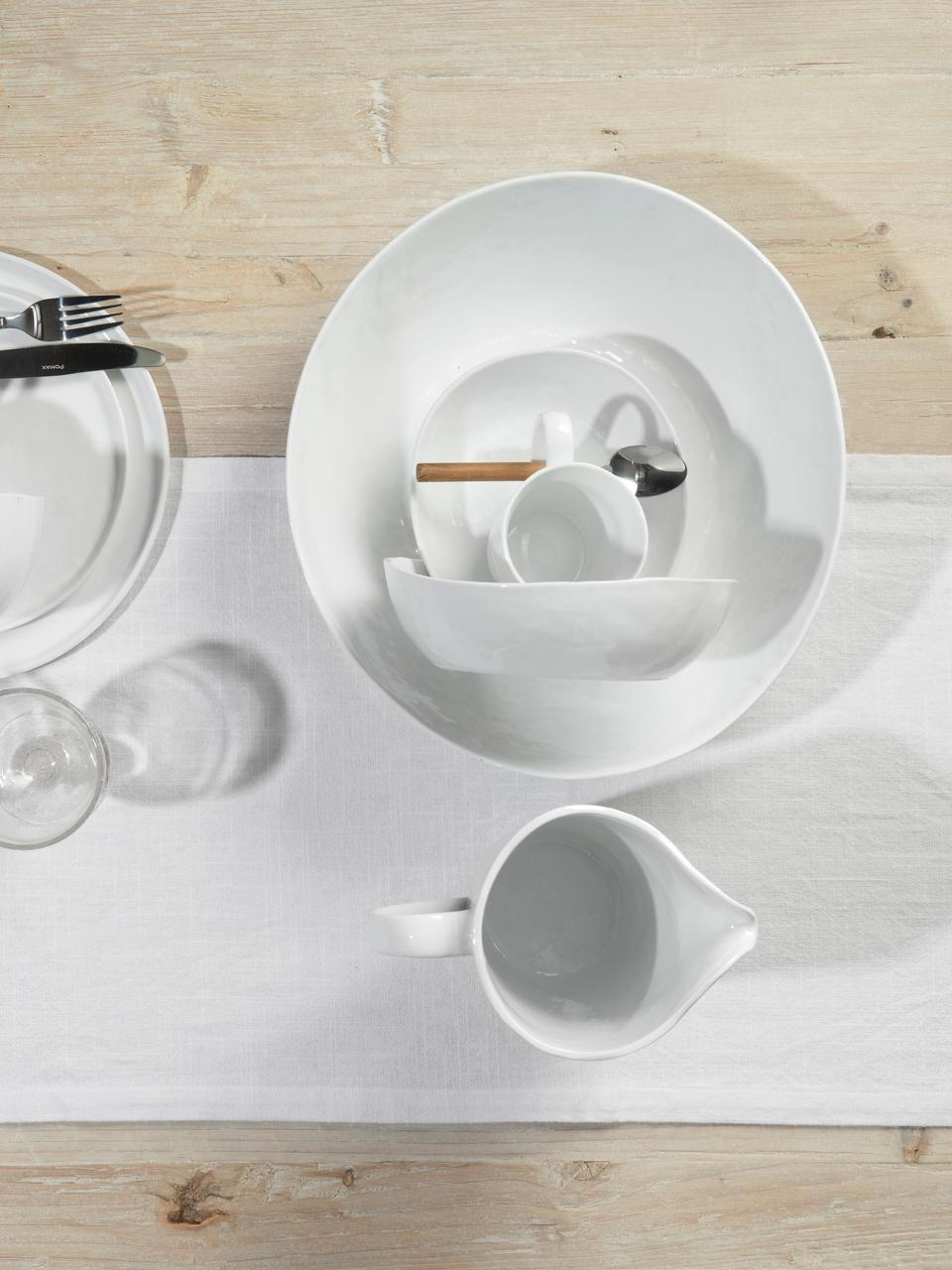 Schalen Porcelino mit unebener Oberfläche, 4 Stück, Porzellan, gewollt ungleichmäßig, Weiß, 16 x 17 cm