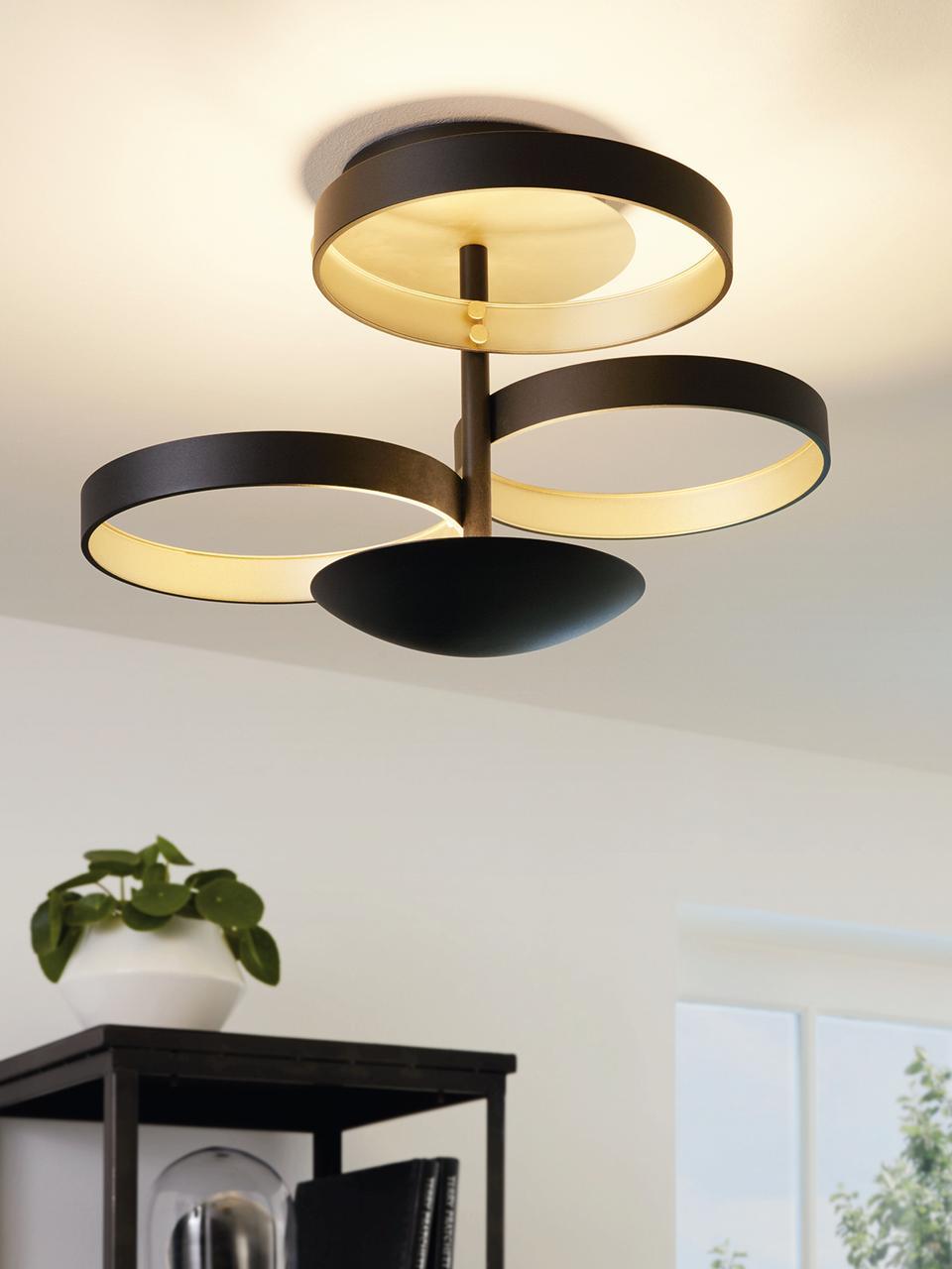 Dimmbare LED-Deckenleuchte Gromola, Lampenschirm: Aluminium, lackiert, Baldachin: Aluminium, lackiert, Schwarz, Ø 54 x H 33 cm