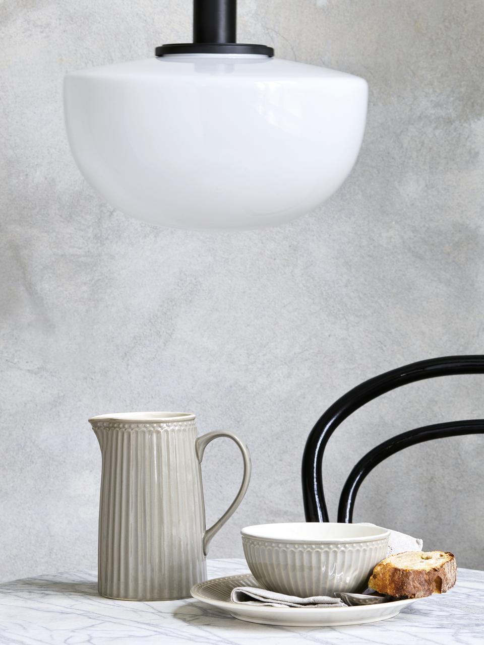 Ręcznie wykonany talerz duży Alice, 2 szt., Kamionka, Szary, biały, Ø 27 cm