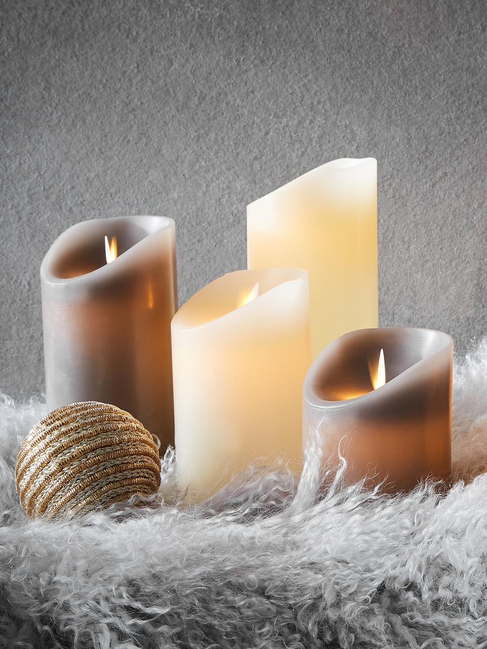 Set 3 candele a LED Glowing Flame, Paraffina, materiale sintetico, Crema, Set in varie misure