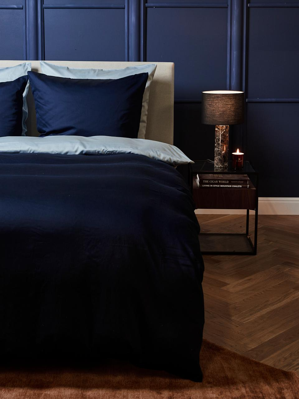Pościel z satyny bawełnianej Comfort, Ciemny niebieski, 135 x 200 cm
