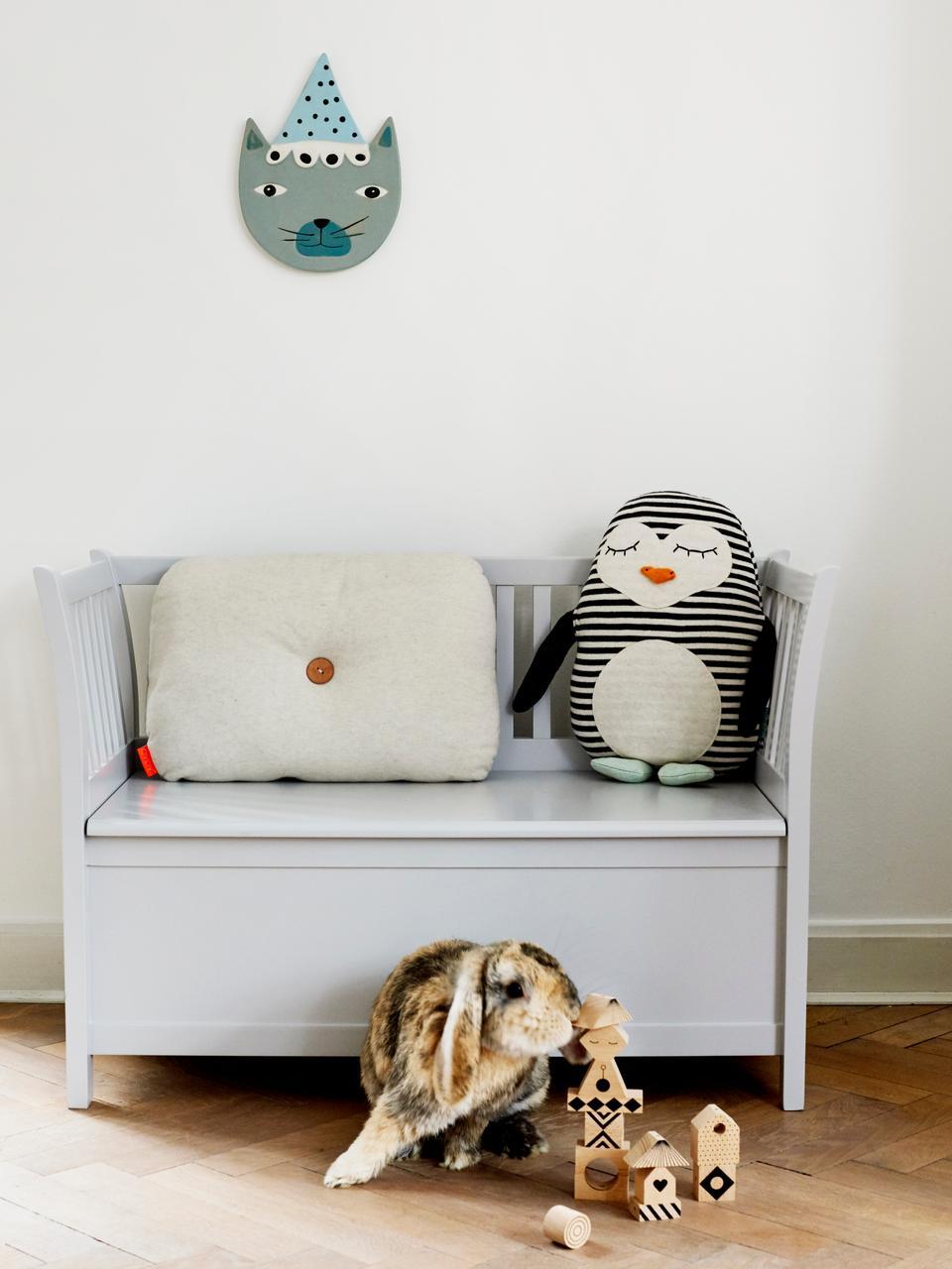 Kuschelkissen Pingo, Baumwolle, Gebrochenes Weiß, Schwarz, Mintgrün, Orange, 31 x 41 cm