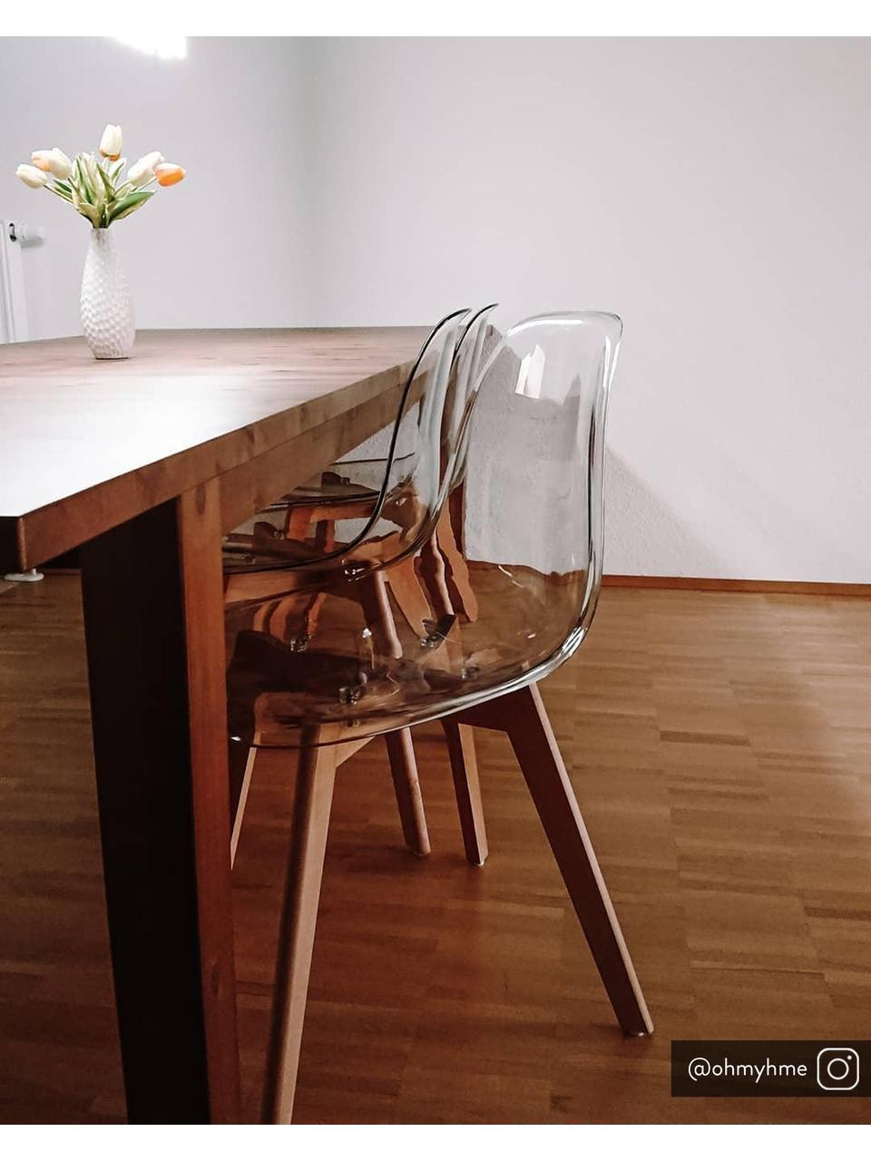 Transparente Stühle Easy, 2 Stück, Sitzfläche: Kunststoff, Beine: Buchenholz, Transparent, Buchenholz, B 51 x T 47 cm