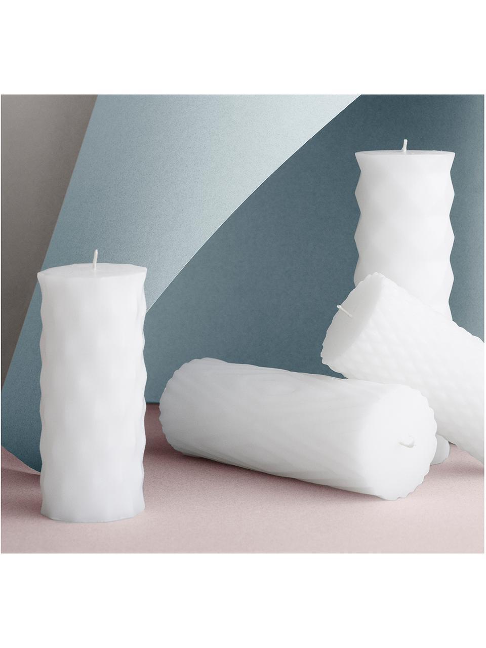 Set candele cilindriche Mix Rhomb, 6 pz, 95% paraffina, 5% cera di soia, Bianco, Ø 7 x A 14 cm