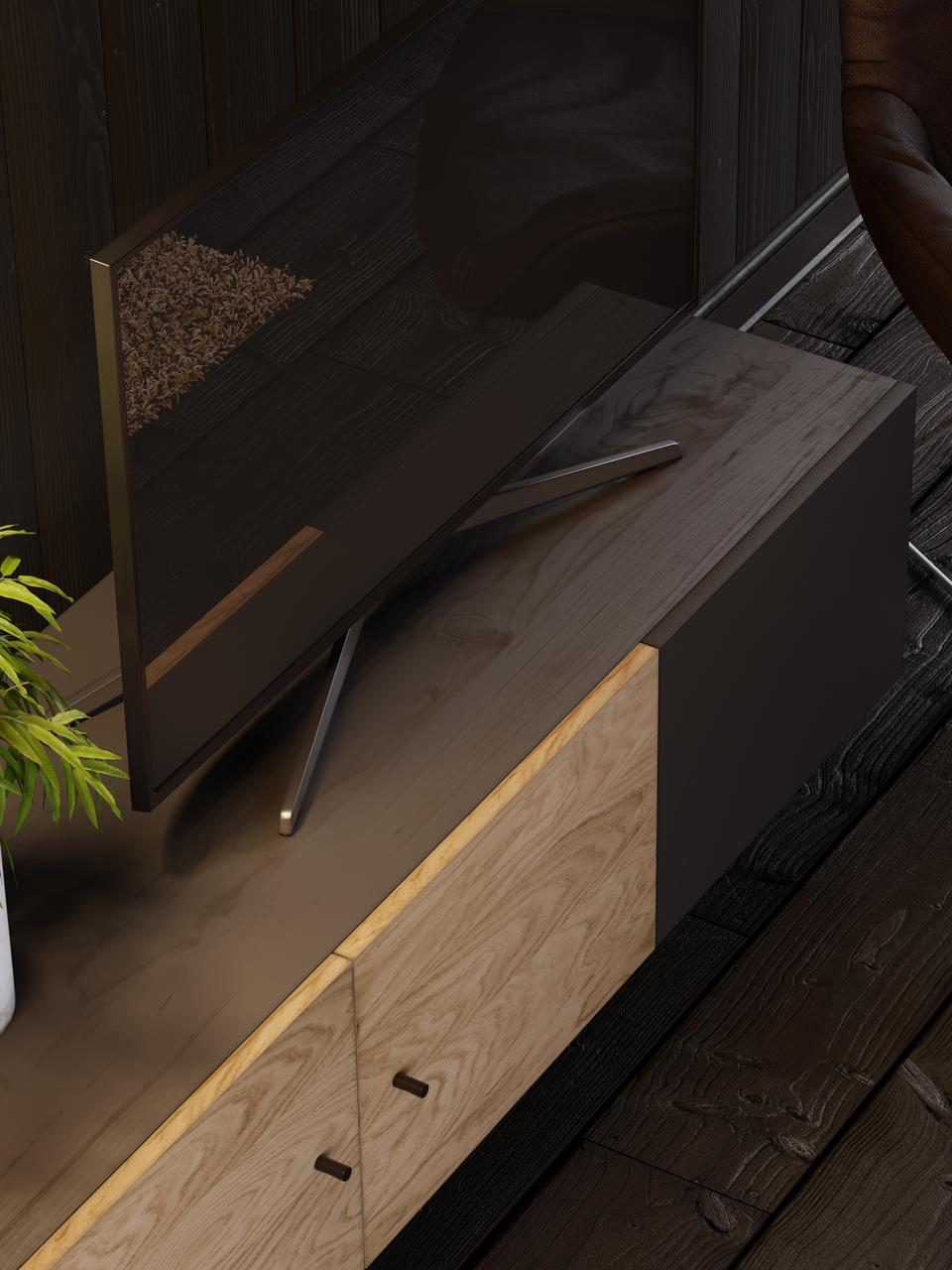 TV-Konsole Youth mit Eichenholzfurnier mit Türen, Korpus: Spanplatte, Eichenholzfur, Füße: Metall, pulverbeschichtet, Griffe: Metall, pulverbeschichtet, Korpus: Eiche, Schwarz gebeizt<br>Fronten: Eiche, Schwarz, 150 x 52 cm