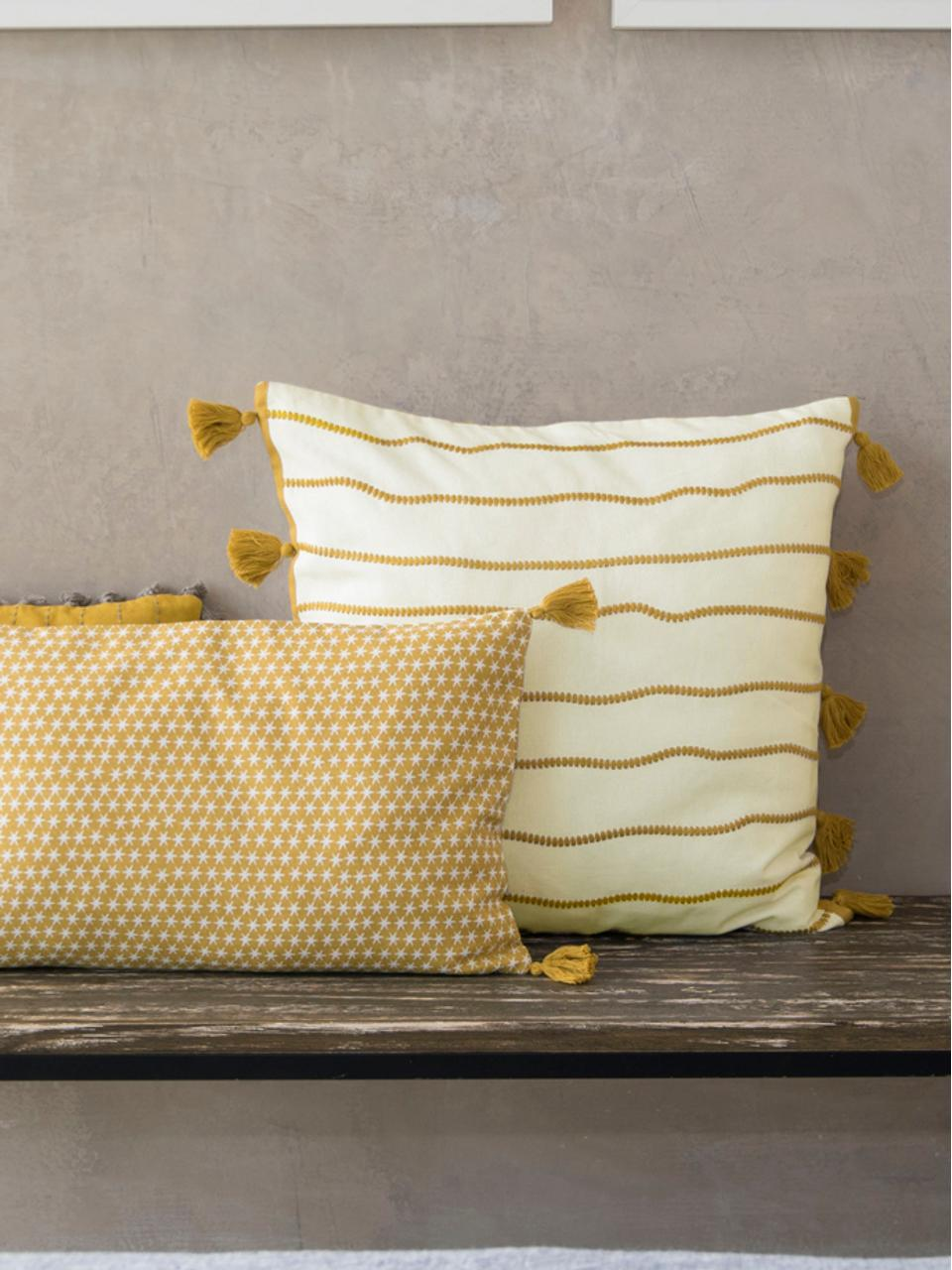 Federa arredo con nappe Blanket, 100% cotone, Giallo, bianco, Larg. 50 x Lung. 50 cm
