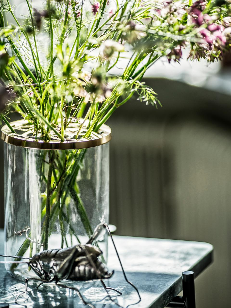 Glas-Vase Lily mit Metalldeckel, Vase: Glas, Deckel: Messing, Vase: Transparent Deckel: Messing, Ø 13 x H 19 cm
