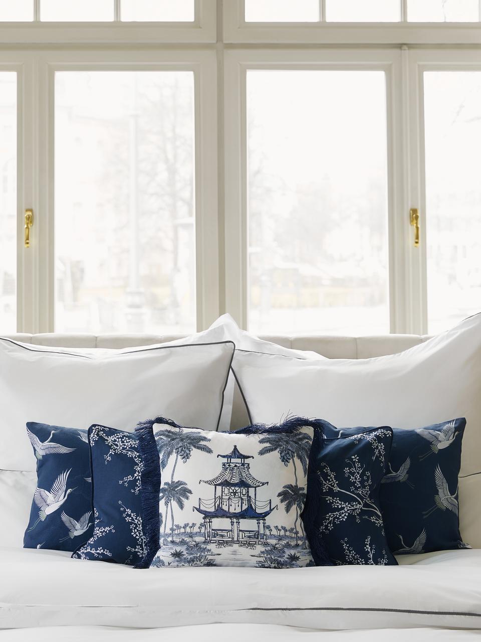 Poszewka na poduszkę z frędzlami Akira, 100% bawełna, Niebieski, S 40 x D 40 cm