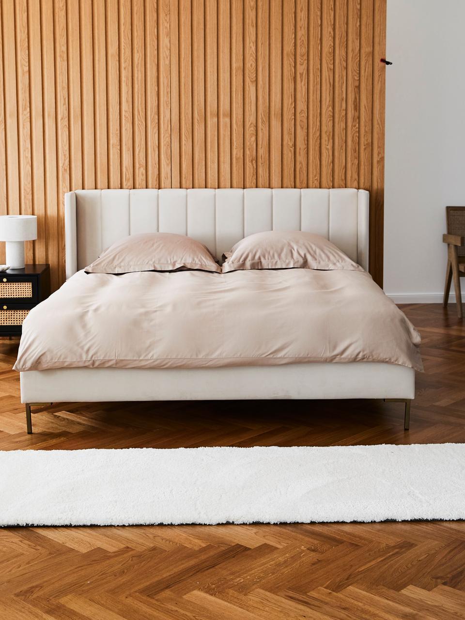 Łóżko tapicerowane z aksamitu Dusk, Korpus: lite drewno sosnowe i pły, Nogi: metal malowany proszkowo, Tapicerka: aksamit poliestrowy 290 g, Beżowy, S 180 x D 200 cm