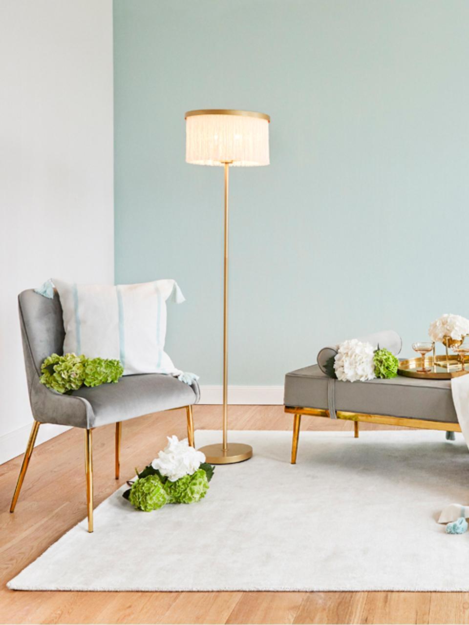 Fluwelen stoel Ava met goudkleurige poten, Bekleding: fluweel (100% polyester) , Poten: gegalvaniseerd metaal, Fluweel grijs, B 55 x D 60 cm