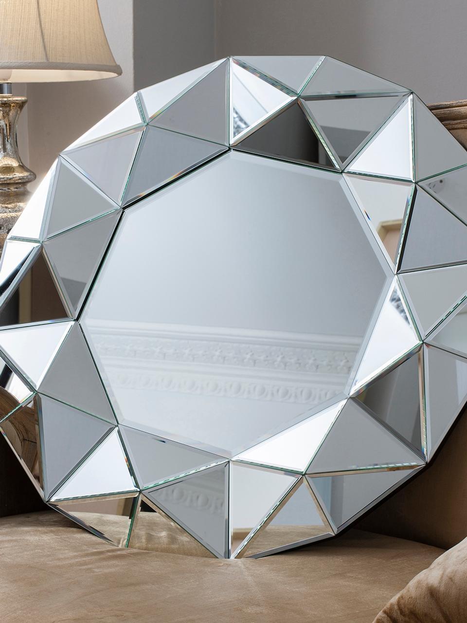 Wandspiegel Zaragoza mit Rahmen aus Spiegelglas, Spiegelglas, Ø 70 x T 5 cm