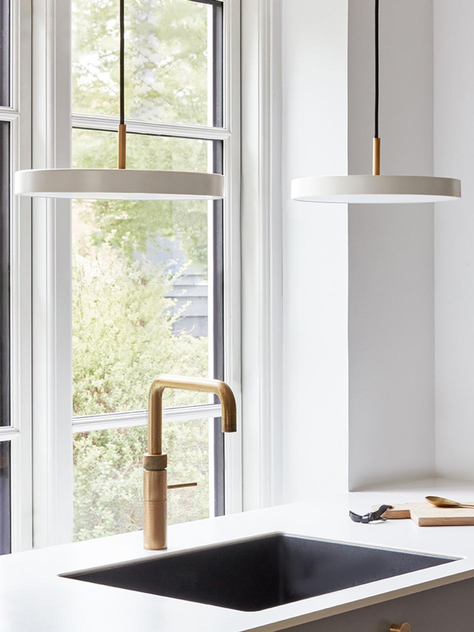 Lampada a sospensione a LED di design Asteria, Paralume: alluminio verniciato, Bianco perlato, colore oro, Ø 43 x Alt. 15 cm