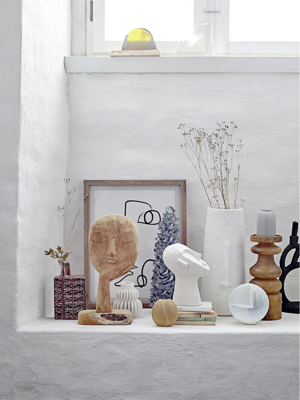 Deko-Objekt Man, Beton, bemalt, Weiß, 18 x 22 cm
