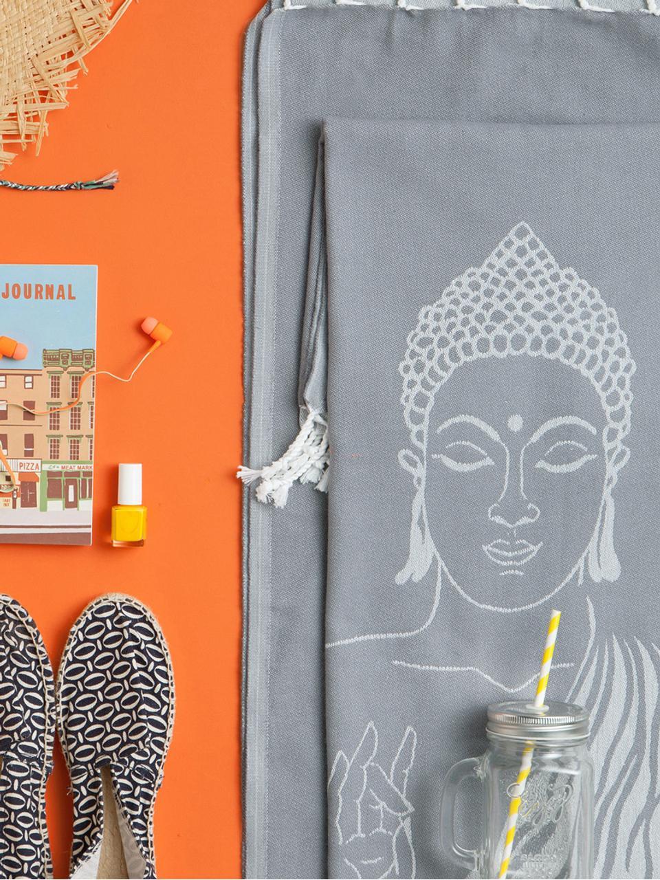 Fouta Buddha, Szary, złamana biel, S 90 x D 180 cm