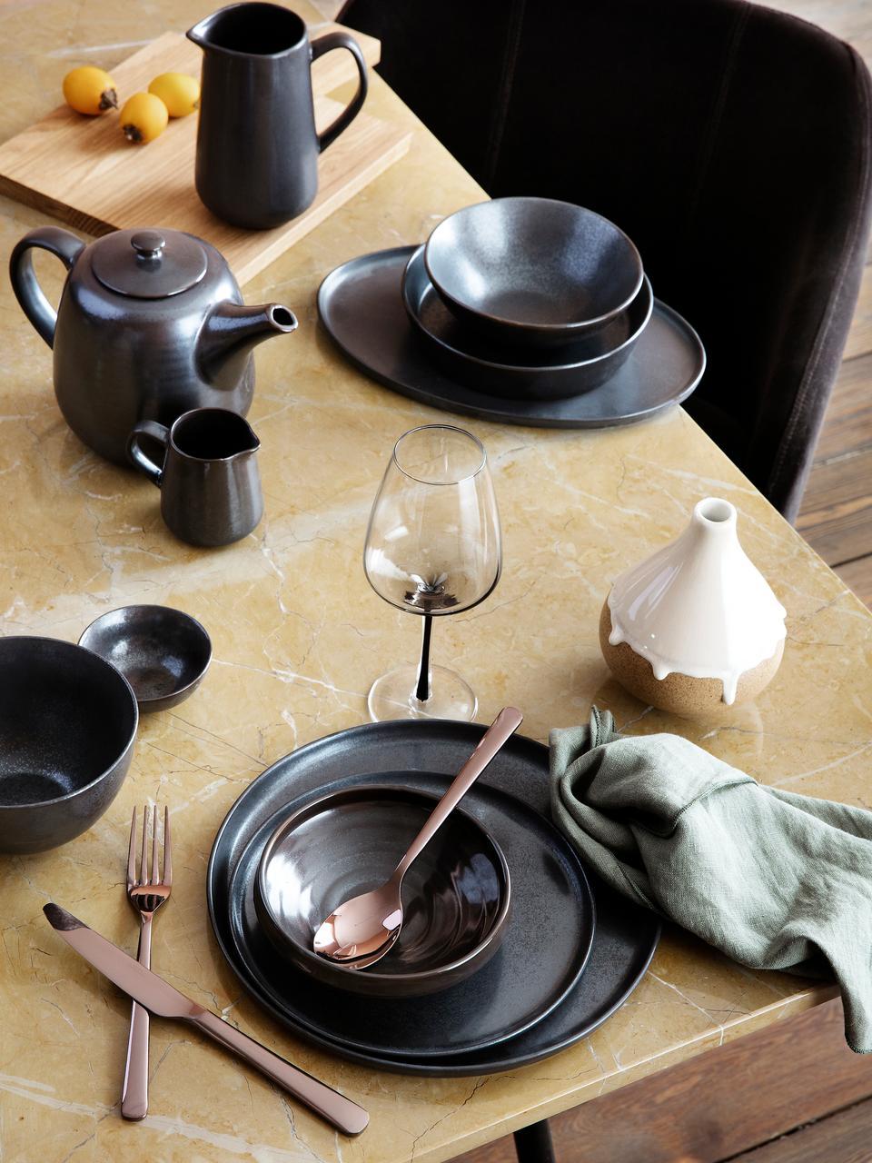 Piattino da dessert fatto a mano Esrum Night 4 pz, Gres smaltata, Marrone grigiastro lucido argenteo opaco, Ø 21 cm