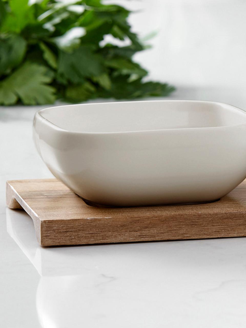 Dipschälchen Essentials aus Porzellan und Akazienholz, 4er-Set, Schälchen: Porzellan, Tablett: Akazienholz, Beige, Akazienholz, Sondergrößen