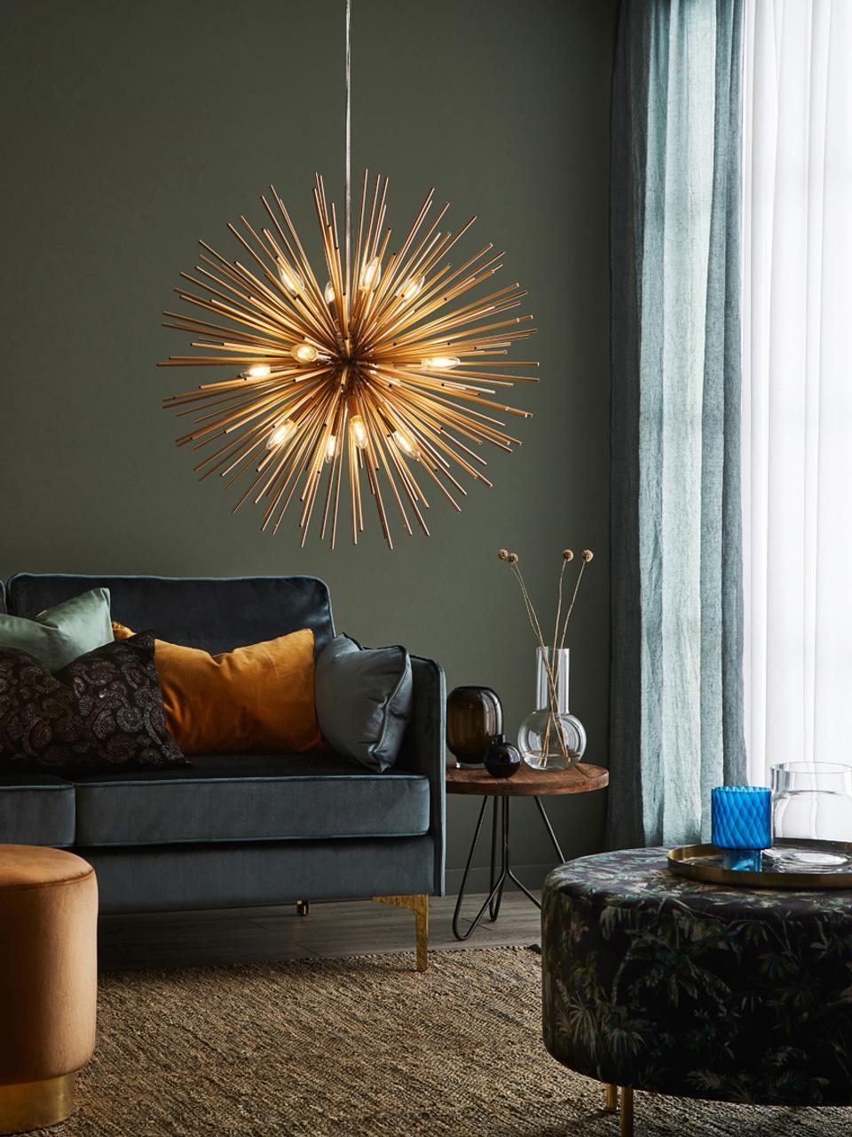 Velké designové závěsné svítidlo Soleil, Mosazná