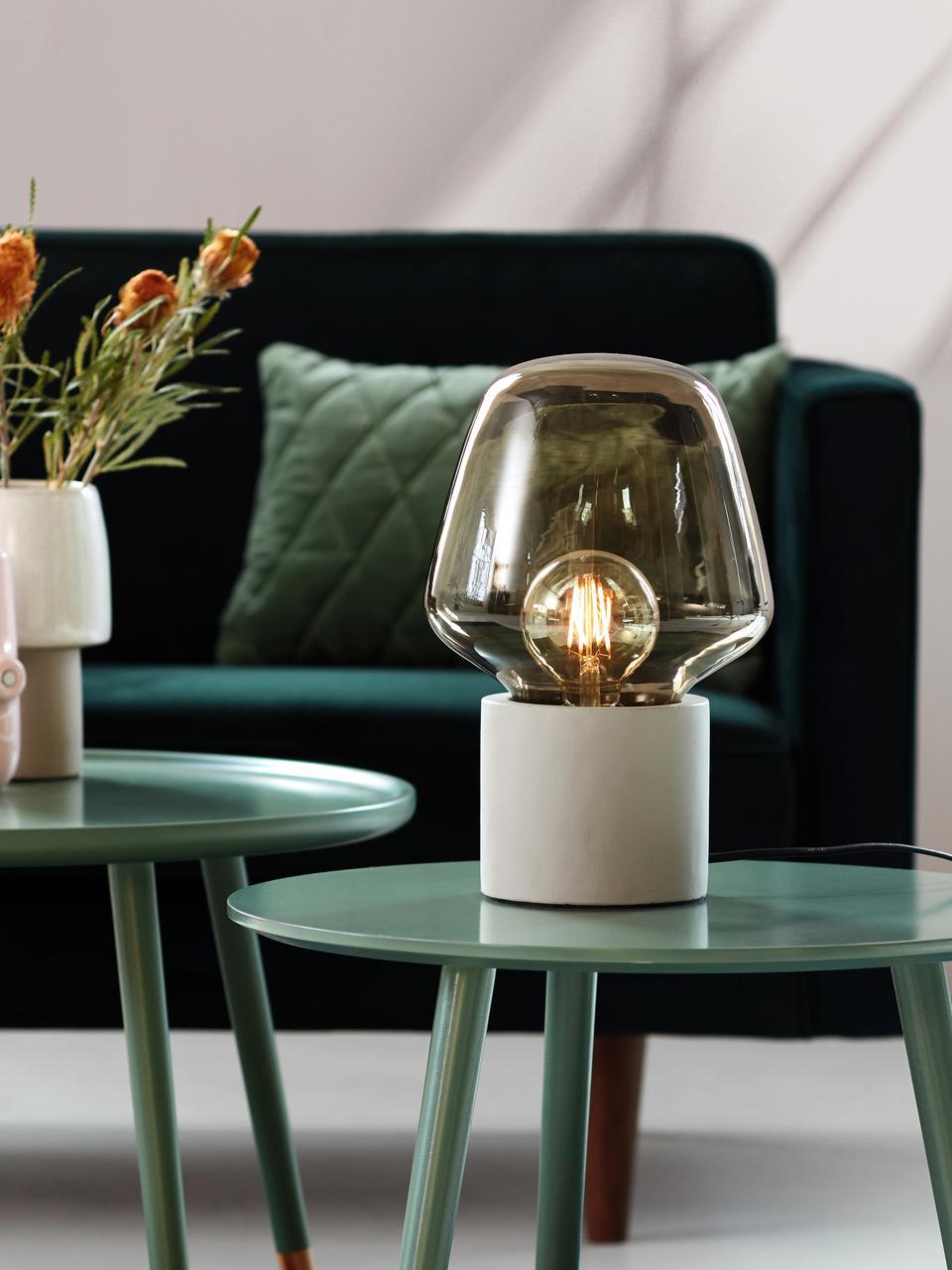 Kleine Tischlampe Christina mit Betonfuß, Lampenschirm: Glas, Lampenfuß: Beton, Betongrau, Grau, transparent, Ø 20 x H 30 cm