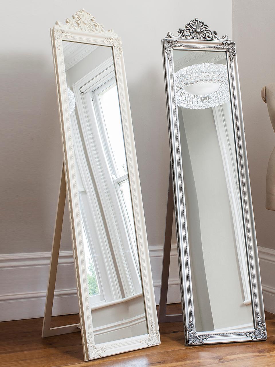 Lustro stojące z drewna Lambeth, Biały, S 46 x W 179 cm