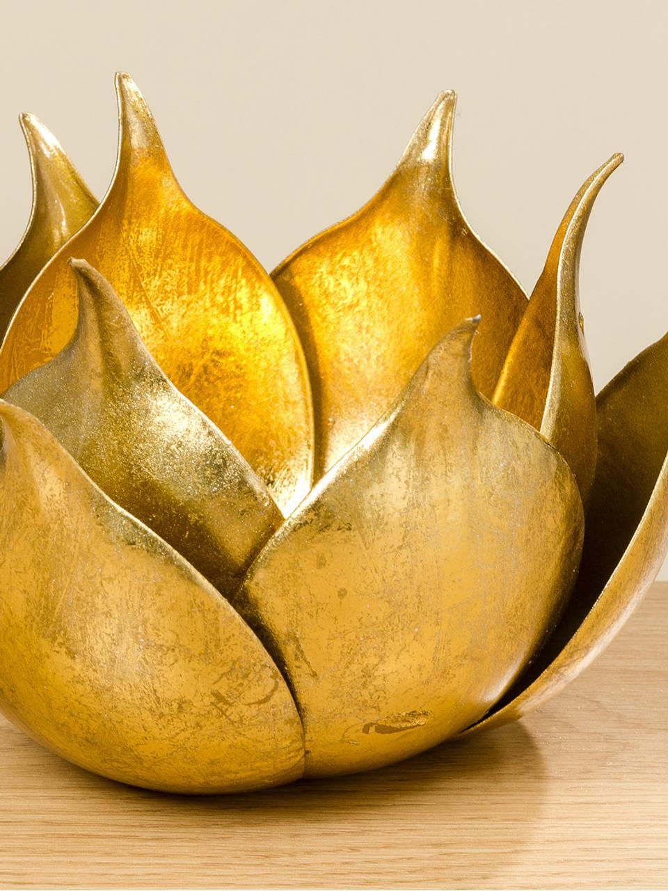 Waxinelichthouder Conla, Gecoat metaal, Glanzend goudkleurig, Ø 20 x H 11 cm