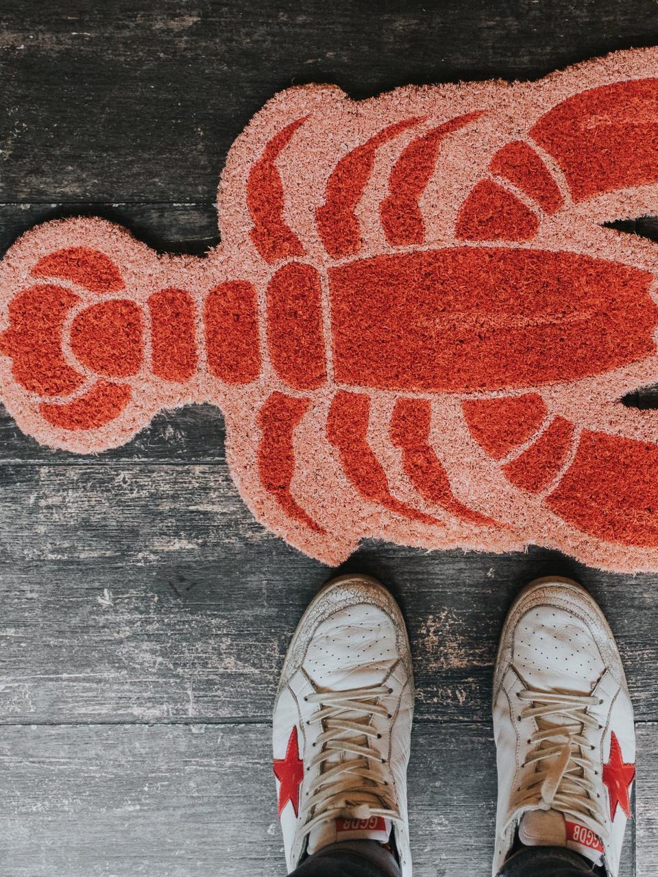 Fußmatte Lobster, Kokosfaser, Rosa, Rot, 40 x 70 cm