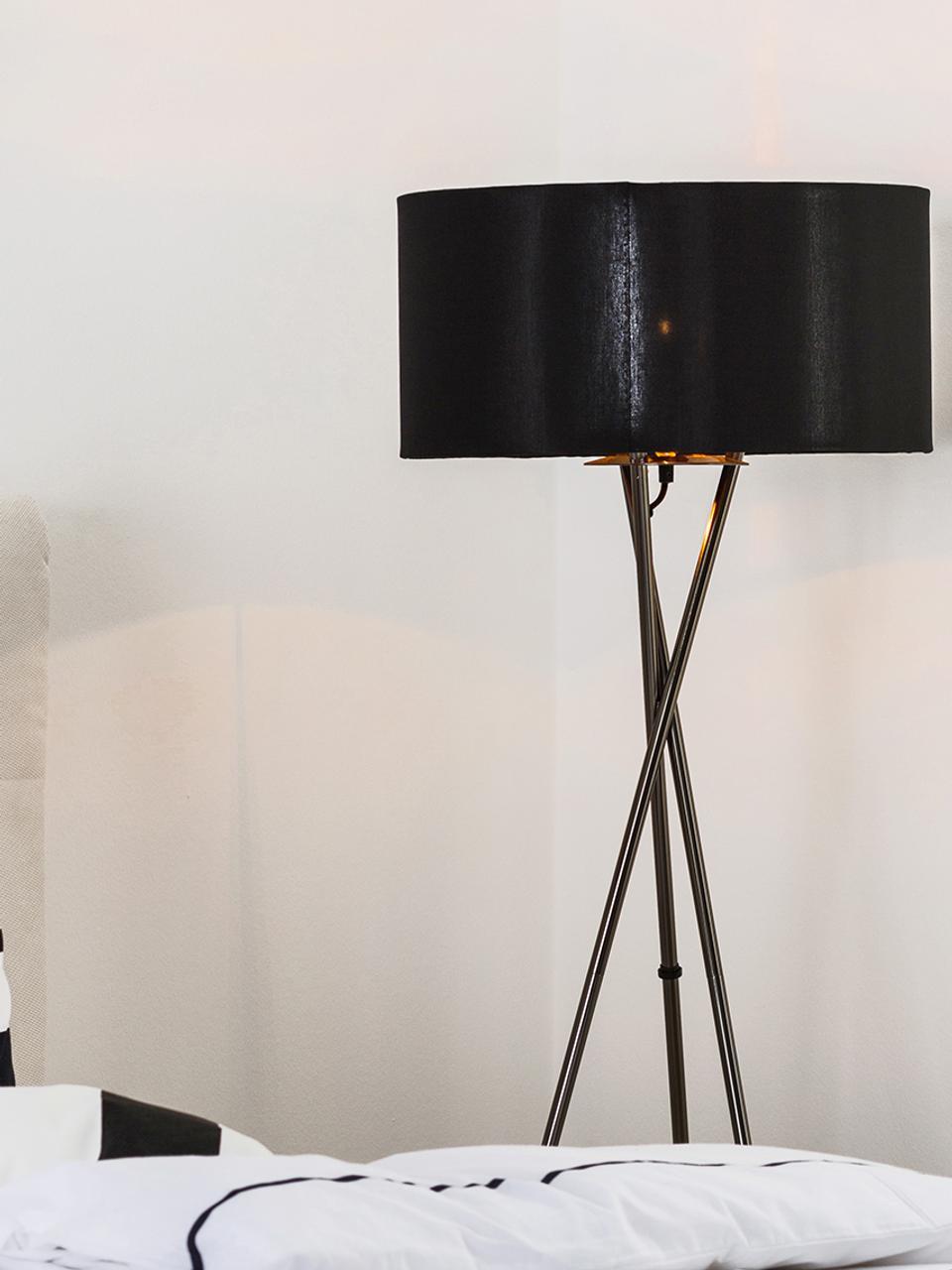 Lampadaire trépied noir chromé Giovanna, Noir, cuivre