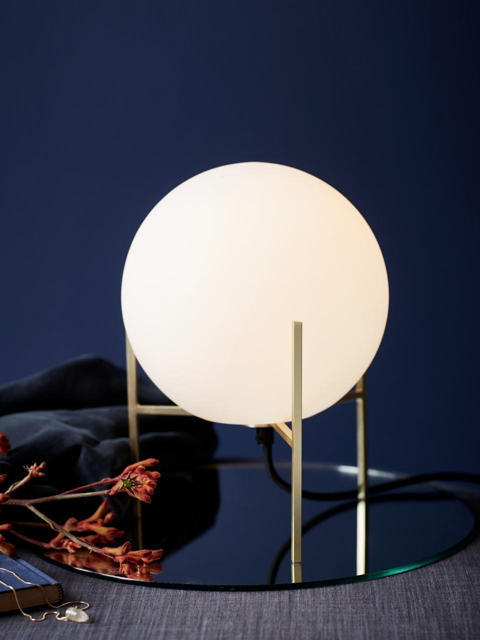 Kleine tafellamp Alton van opaalglas, Lampvoet: messing, Lampenkap: opaalglas, Messingkleurig, wit, Ø 20 x H 29 cm