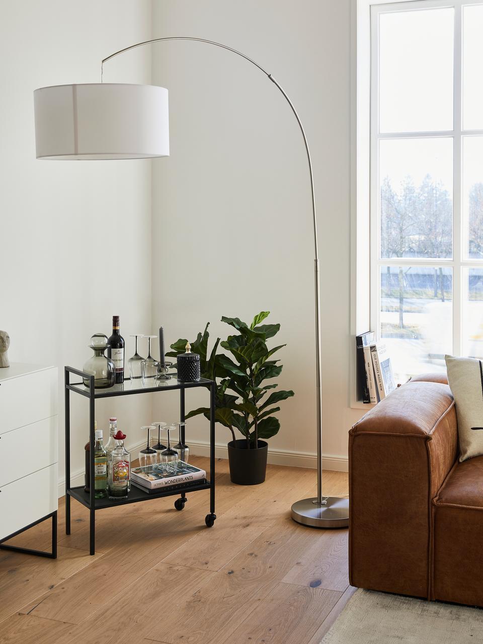 Moderne Bogenlampe Niels, Lampenschirm: Baumwollgemisch, Lampenfuß: Metall, gebürstet, Lampenschirm: WeißLampenfuß: ChromKabel: Transparent, 157 x 218 cm