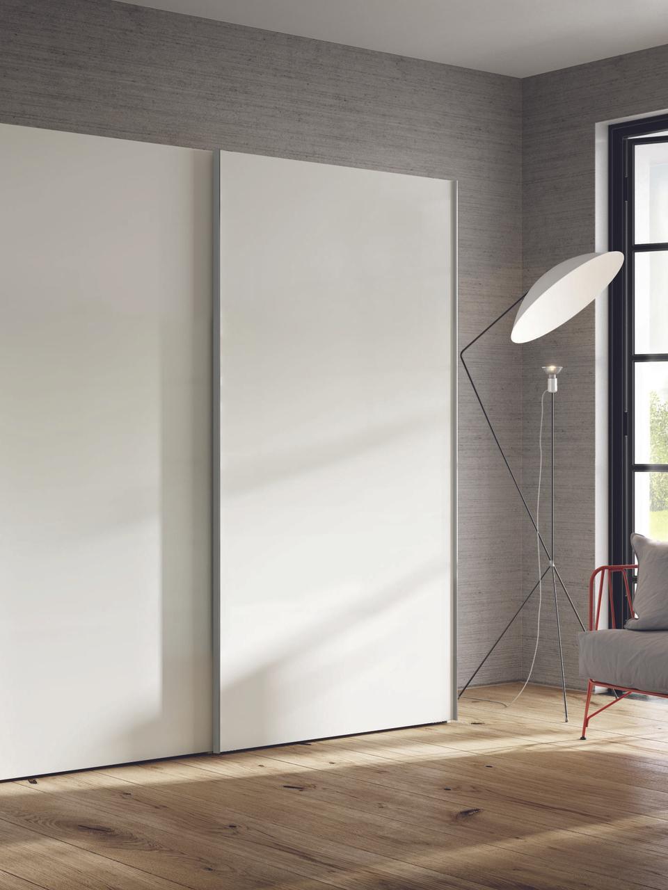 Kleiderschrank Oliver mit Schiebetüren in Weiß, Korpus: Holzwerkstoffplatten, lac, Weiß, 252 x 225 cm