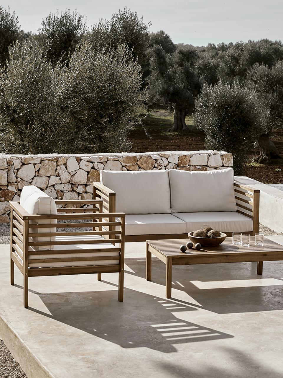 Outdoor loungeset Bo, 4-delig, Frame: massief geolied acaciahou, Bekleding: beige. Frame: acaciahoutkleurig, Set met verschillende formaten
