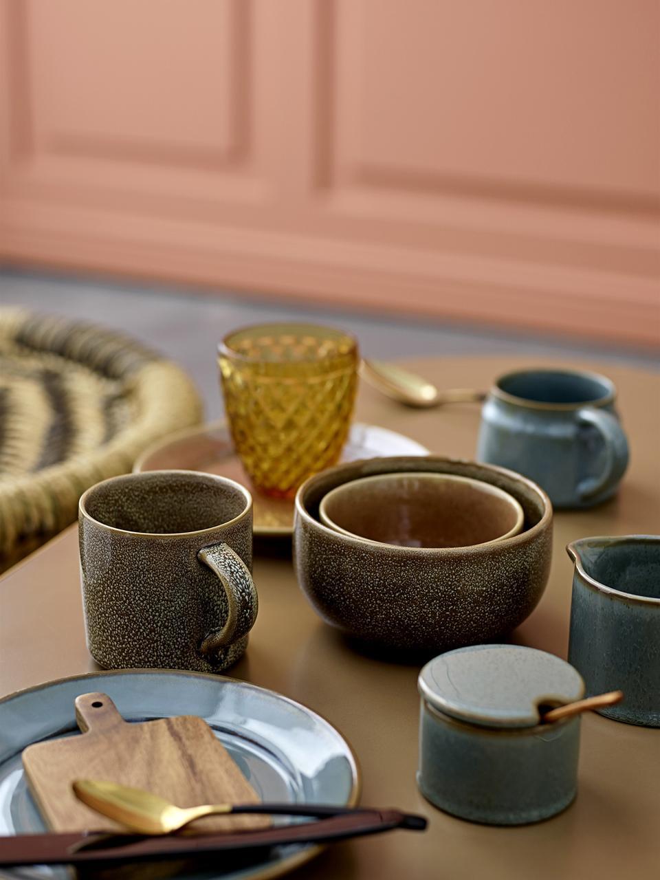 Set zuccheriera Pixie 2 pz, Contenitore: terracotta, Cucchiaio: legno d'acacia, Tonalità verde, Ø 8 x A 6 cm