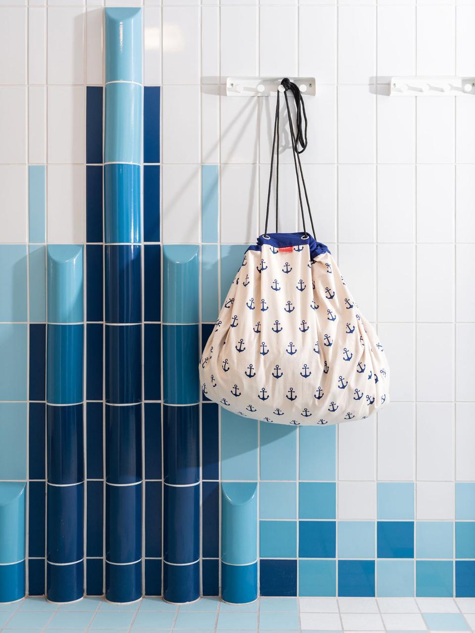 Spieldecke Anchors, Polyester, Weiss, Blau, Ø 140 cm