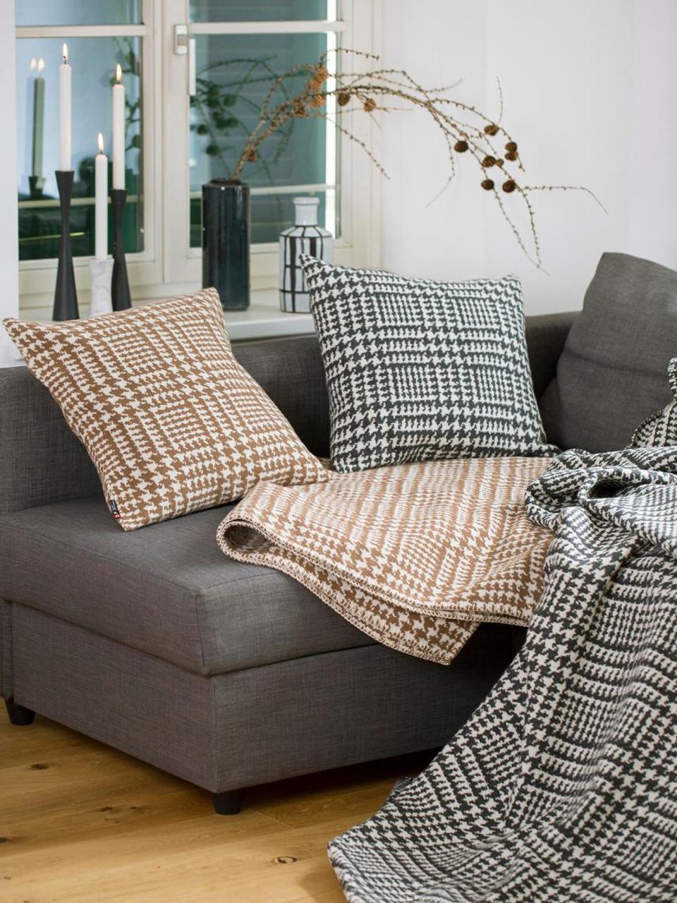 Plaid Glencheck mit Hahnentritt-Muster, Bezug: 85% Baumwolle, 8% Viskose, schwarz weiß, 145 x 220 cm