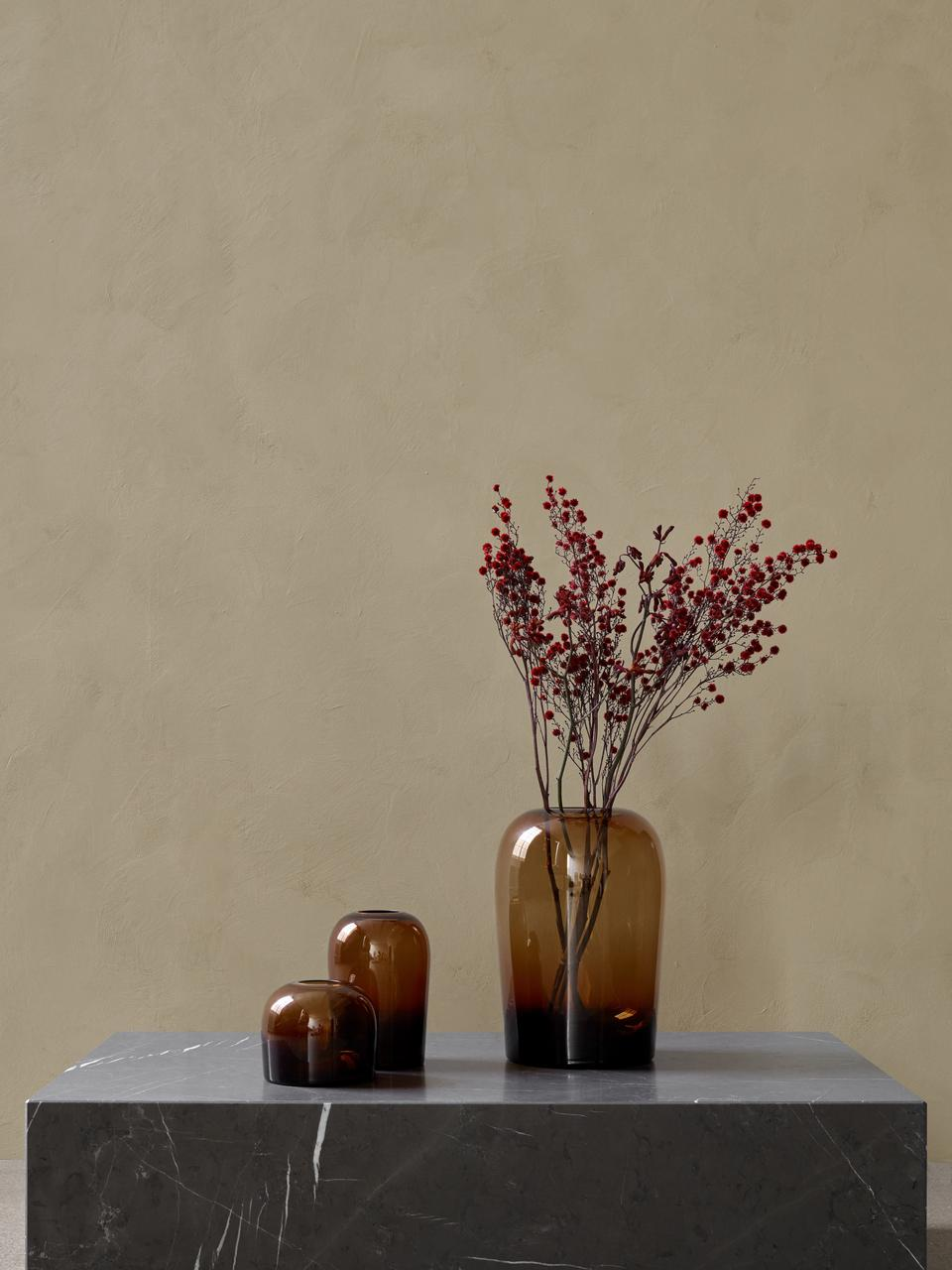 Vaso in vetro soffiato Troll, Vetro, gonfiabile, Ambra, Ø 13 x Alt. 19 cm